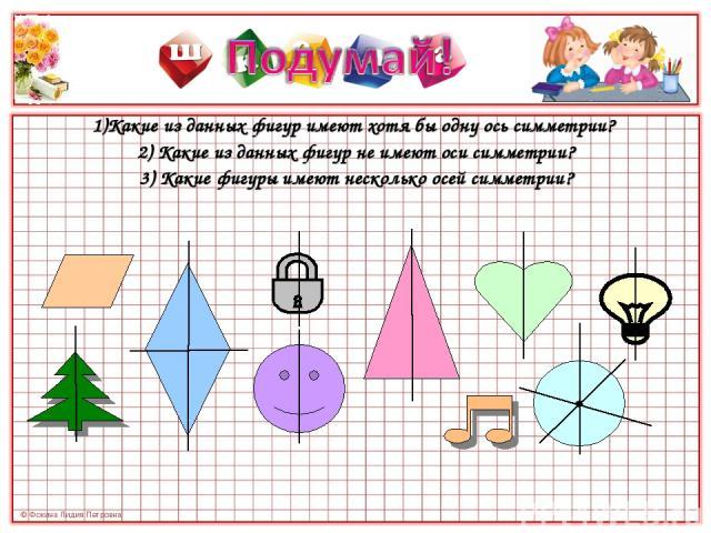 1)Какие из данных фигур имеют хотя бы одну ось симметрии? 1)Какие из данных фигур имеют хотя бы одну ось симметрии? 2) Какие из данных фигур не имеют оси симметрии? 3) Какие фигуры имеют несколько осей симметрии?