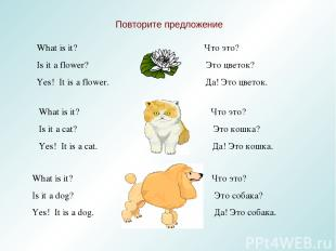 Повторите предложение What is it? Что это? Is it a flower? Это цветок? Yes! It i