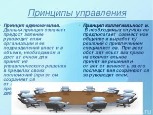 Принципы управления Принцип единоначалия. Данный принцип означает предоставление