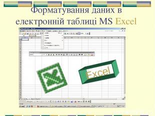 Форматування даних в електронній таблиці MS Excel Excel
