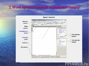 2.Word процессорының экранымен танысу