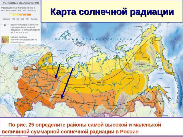 Карта солнечной радиации Изогиета-линия, показывающая равные величины солнечной радиации. (ккал/ кв.см за год) По рис. 25 определите районы самой высокой и маленькой величиной суммарной солнечной радиации в России