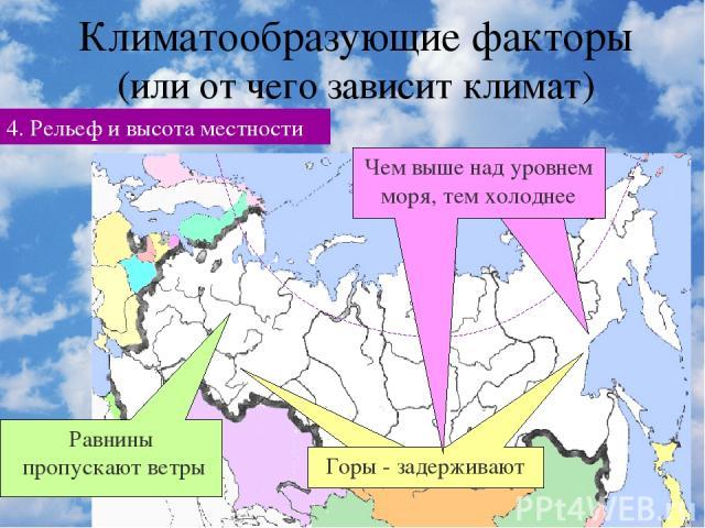 Климатообразующие факторы (или от чего зависит климат) 4. Рельеф и высота местности Равнины пропускают ветры
