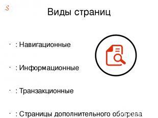 Виды страниц : Навигационные : Информационные : Транзакционные : Страницы дополн