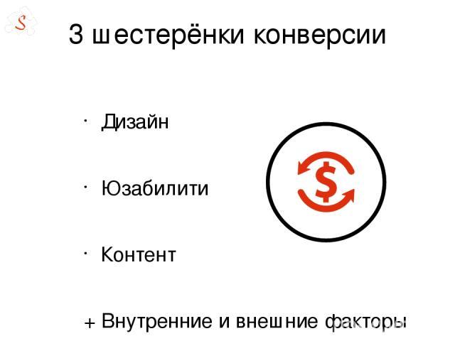 3 шестерёнки конверсии Дизайн Юзабилити Контент + Внутренние и внешние факторы