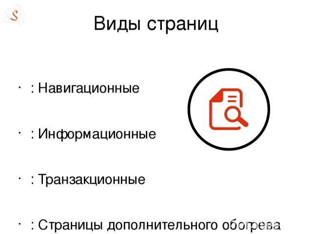 Виды страниц : Навигационные : Информационные : Транзакционные : Страницы дополнительного обогрева ( о компании и т.д. ) Технические страницы в интерфейсе