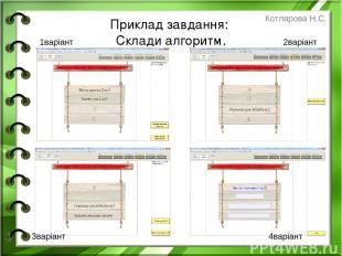 Приклад завдання: Склади алгоритм. 1варіант 2варіант 3варіант 4варіант Котлярова