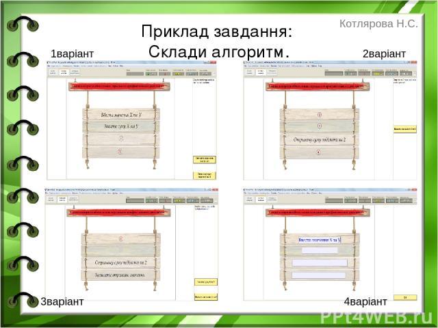 Приклад завдання: Склади алгоритм. 1варіант 2варіант 3варіант 4варіант Котлярова Н.С.