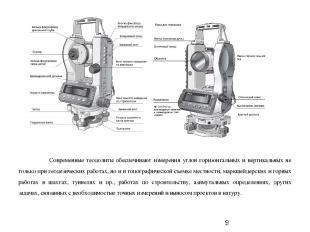 Современные теодолиты обеспечивают измерения углов горизонтальных и вертикальных