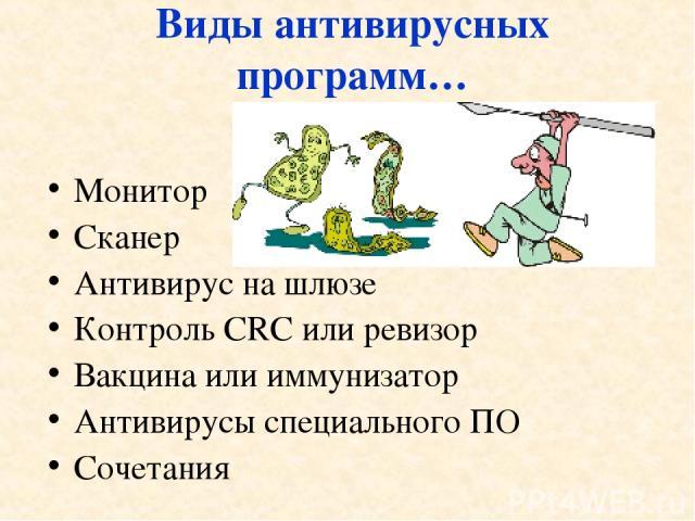 Монитор Сканер Антивирус на шлюзе Контроль CRC или ревизор Вакцина или иммунизатор Антивирусы специального ПО Сочетания Виды антивирусных программ…