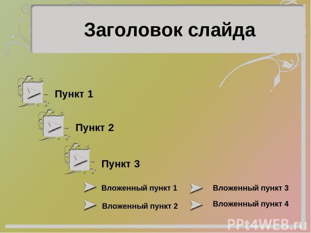 Пункт 1 Пункт 2 Пункт 3 Вложенный пункт 1 Вложенный пункт 2 Вложенный пункт 3 Вложенный пункт 4 Заголовок слайда