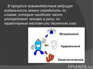 В процессе взаимодействия ведущую модальность можно определить по словам, которы