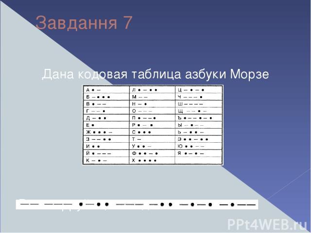 Завдання 7 Дана кодовая таблица азбуки Морзе Расшифруйте, что здесь написано