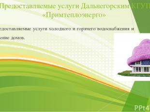 Предоставляемые услуги Дальнегорским КГУП «Примтеплоэнерго» Предоставляемые услу