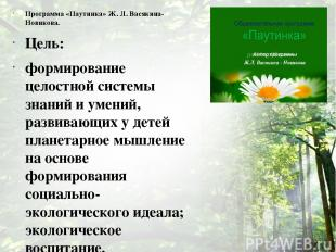Программа «Паутинка» Ж. Л. Васякина-Новикова. Цель: формирование целостной систе
