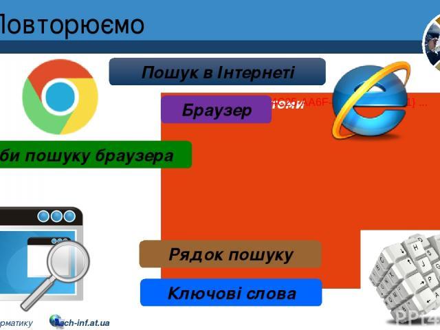 Повторюємо Розділ 2 § 8 Пошук в Інтернеті Браузер Засоби пошуку браузера Рядок пошуку Ключові слова 5 © Вивчаємо інформатику teach-inf.at.ua