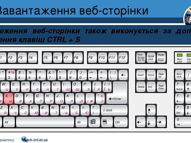 Завантаження веб-сторінки Розділ 2 § 9 Збереження веб-сторінки також виконується за допомогою сполучення клавіш CTRL + S 5 © Вивчаємо інформатику teach-inf.at.ua