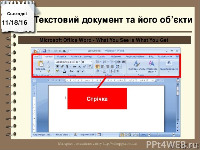 Сьогодні http://vsimppt.com.ua/ http://vsimppt.com.ua/ Microsoft Office Word - What You See Is What You Get Стрічка Текстовий документ та його об'єкти
