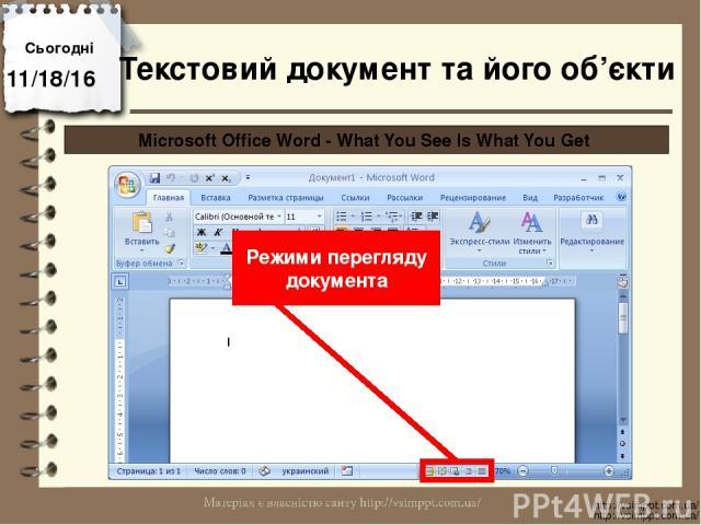 Сьогодні http://vsimppt.com.ua/ http://vsimppt.com.ua/ Microsoft Office Word - What You See Is What You Get Режими перегляду документа Текстовий документ та його об'єкти