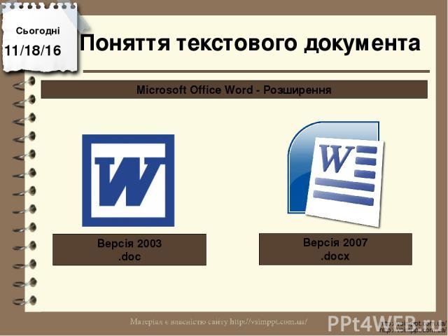 Сьогодні http://vsimppt.com.ua/ http://vsimppt.com.ua/ Поняття текстового документа Microsoft Office Word - Розширення Версія 2003 .doc Версія 2007 .docx