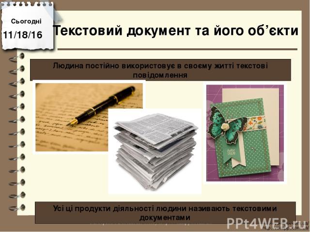 Сьогодні http://vsimppt.com.ua/ http://vsimppt.com.ua/ Людина постійно використовує в своєму житті текстові повідомлення Текстовий документ та його об'єкти Усі ці продукти діяльності людини називають текстовими документами