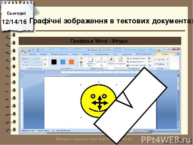 Сьогодні http://vsimppt.com.ua/ http://vsimppt.com.ua/ Графічні зображення в тектових документах Графіка в Word - Фігури