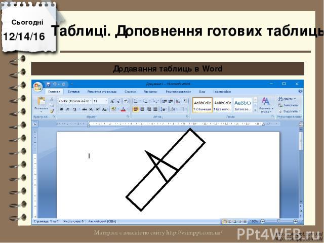 Сьогодні http://vsimppt.com.ua/ http://vsimppt.com.ua/ Додавання таблиць в Word Таблиці. Доповнення готових таблиць