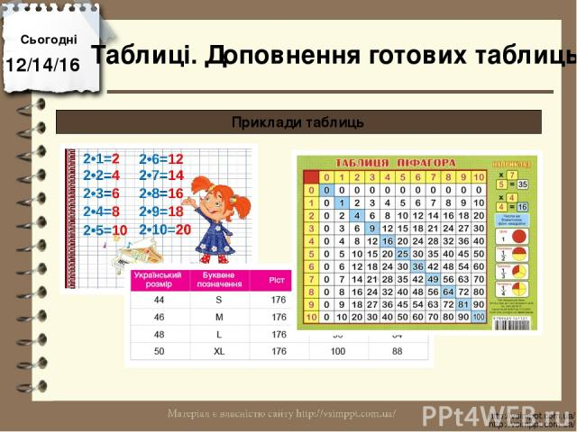 Сьогодні http://vsimppt.com.ua/ http://vsimppt.com.ua/ Приклади таблиць Таблиці. Доповнення готових таблиць