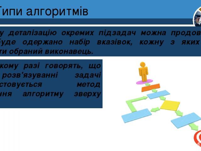 Типи алгоритмів І таку деталізацію окремих підзадач можна продовжувати, поки буде одержано набір вказівок, кожну з яких зможе виконати обраний виконавець. Розділ 4 § 19 У такому разі говорять, що при розв'язуванні задачі використовується метод уточн…