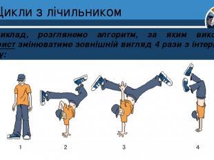 Цикли з лічильником Наприклад, розглянемо алгоритм, за яким виконавець Танцюрист