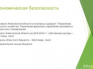 Экономическая безопасность В акимате Алматинской области эти вопросы курируют: У