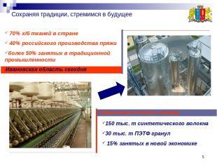 * Сохраняя традиции, стремимся в будущее Ивановская область завтра Ивановская об