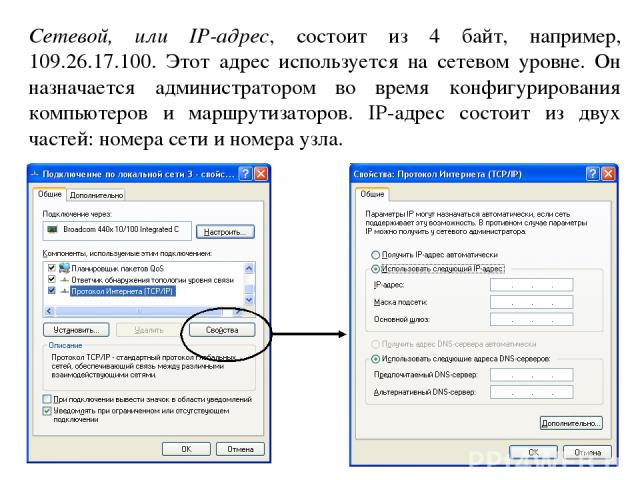 Сетевой, или IP-адрес, состоит из 4 байт, например, 109.26.17.100. Этот адрес используется на сетевом уровне. Он назначается администратором во время конфигурирования компьютеров и маршрутизаторов. IP-адрес состоит из двух частей: номера сети и номе…