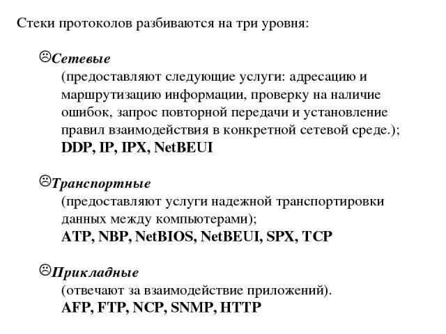 Стеки протоколов разбиваются на три уровня: Сетевые (предоставляют следующие услуги: адресацию и маршрутизацию информации, проверку на наличие ошибок, запрос повторной передачи и установление правил взаимодействия в конкретной сетевой среде.); DDP, …