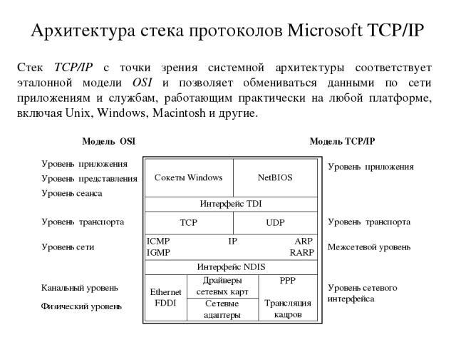 Архитектура стека протоколов Microsoft TCP/IP Стек TCP/IP с точки зрения системной архитектуры соответствует эталонной модели OSI и позволяет обмениваться данными по сети приложениям и службам, работающим практически на любой платформе, включая Unix…