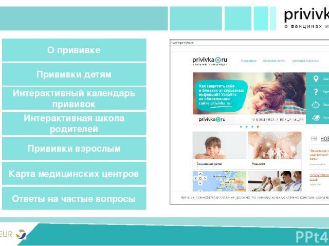 PRIVIVKA New version Разделы сайта Ответы на частые вопросы Прививки детям Интерактивная школа родителей О прививке Карта медицинских центров Интерактивный календарь прививок Прививки взрослым