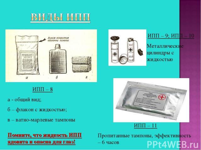 ИПП – 8 а - общий вид; б – флакон с жидкостью; в – ватно-марлевые тампоны ИПП – 9; ИПП – 10 Металлические цилиндры с жидкостью ИПП – 11 Пропитанные тампоны, эффективность – 6 часов Помните, что жидкость ИПП ядовита и опасна для глаз!