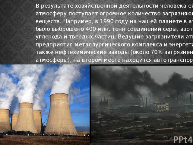 В результате хозяйственной деятельности человека ежегодно в атмосферу поступает огромное количество загрязняющих веществ. Например, в 1990 году на нашей планете в атмосферу было выброшено 400 млн. тонн соединений серы, азота, углерода и твердых част…