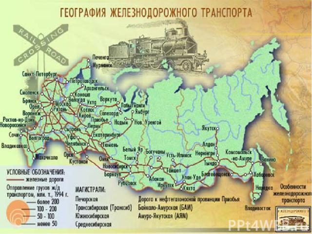 Железнодорожный транспорт Железнодорожный транспорт наиболее развит в России (на него по данным на 2011 год приходилось 85% внутреннего грузооборота). В России железнодорожный транспорт подразделяется на: железнодорожный транспорт общего пользован…