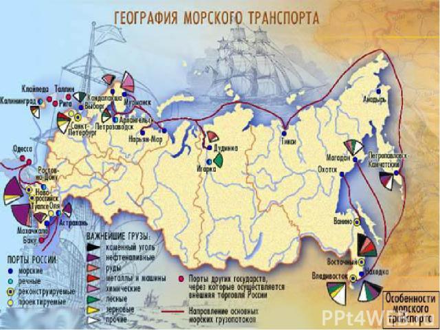 Морской транспорт Этому виду транспорта принадлежит главная роль в межгосударственном грузообороте. Важность морского транспорта для России определяется её положением на берегах трёх океанов и протяжённостью морской границы 42 тысячи километров.