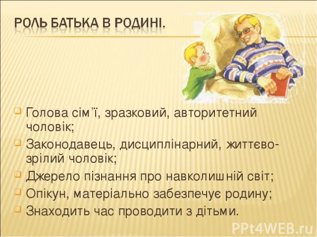 Голова сім'ї, зразковий, авторитетний чоловік; Законодавець, дисциплінарний, життєво-зрілий чоловік; Джерело пізнання про навколишній світ; Опікун, матеріально забезпечує родину; Знаходить час проводити з дітьми.