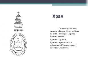 Храм Символізує зв'язок людини з Богом, Царство Боже на землі, прообраз Царства