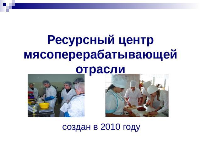 Ресурсный центр мясоперерабатывающей отрасли создан в 2010 году