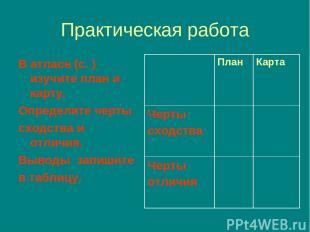 Практическая работа В атласе (с. )изучите план и карту. Определите черты сходств