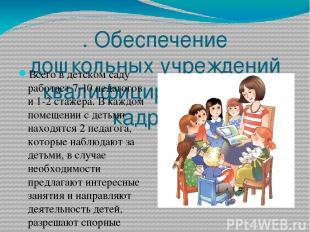 . Обеспечение дошкольных учреждений квалифицированными кадрами Всего в детском с