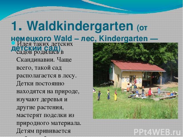 1. Waldkindergarten (от немецкого Wald – лес, Kindergarten — детский сад). Идея таких детских садов родилась в Скандинавии. Чаще всего, такой сад располагается в лесу. Детки постоянно находятся на природе, изучают деревья и другие растения, мастеря…