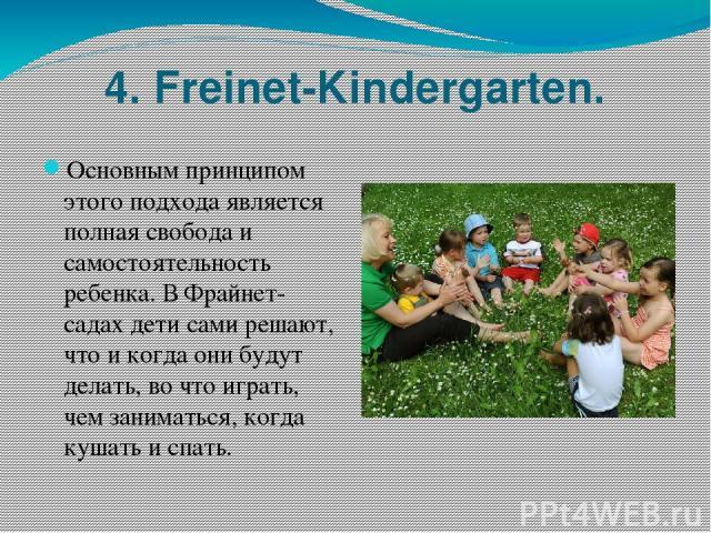 4. Freinet-Kindergarten. Основным принципом этого подхода является полная свобода и самостоятельность ребенка. В Фрайнет-садах дети сами решают, что и когда они будут делать, во что играть, чем заниматься, когда кушать и спать.