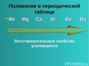 Положение в периодической таблице Be Mg Ca Sr Ba Ra Восстановительные свойства у