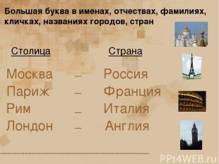 Страна Столица Москва Париж Лондон Рим Россия Франция Англия Италия _ _ _ _ Боль