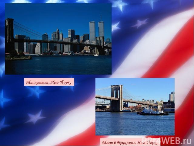 Мост в Бруклине. Нью-Йорк. Манхэттэн. Нью-Йорк.
